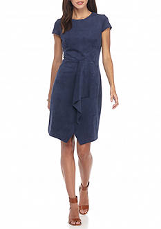 Maggy London Ruffle Front Faux Suede Dress