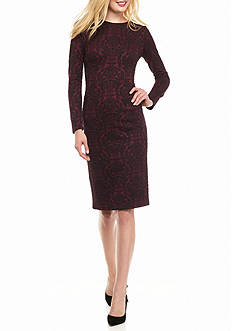 Maggy London Printed Jacquard Sheath Dress