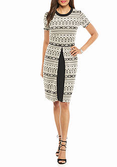 Maggy London Novelty Stripe Fit and Flare Dress
