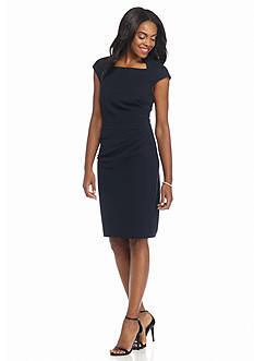Maggy London Solid Crepe Structured Sheath Dress