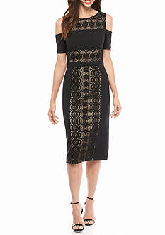 Maggy London Cold Shoulder Lace Panel Sheath Dress