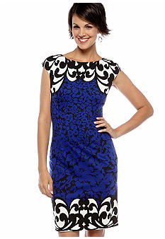 Maggy London Cap Sleeve Print Sheath Dress