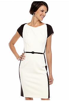 Maggy London Cap Sleeve Belted Dress