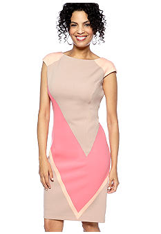 Maggy London Cap-Sleeved Colorblock Sheath Dress
