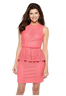 Maggy London Petite Sleeveless Swirl Lace Peplum Belted Sheath Dress