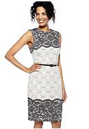 Maggy London Petite Sleeveless Jacquard Print Sheath Dress with Lace