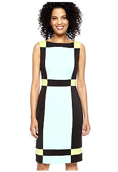 Maggy London Petite Sleeveless Colorblock Sheath Dress