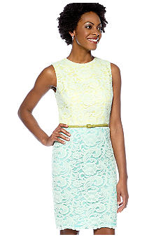 Maggy London Cap-Sleeved Allover Lace Belted Sheath Dress