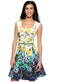 Maggy London Daisy boarder cotton sateen A-Line dress