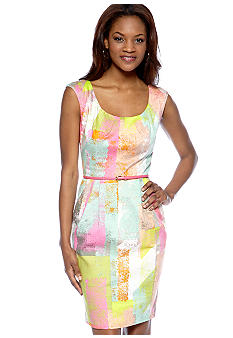 Maggy London Cap-Sleeved Printed Belted Sheath Dress