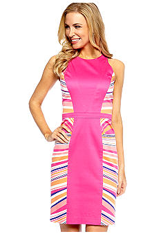 Maggy London Sleeveless Placement Stripe Sheath Dress