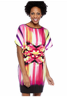 Maggy London Dolman Sleeved Mirror Print Blouson Dress