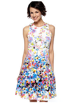 Maggy London Sleeveless A-Line Printed Dress