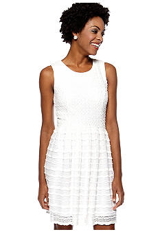 Maggy London Petite Sleeveless Fit and Flare Lace Dress