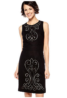 Maggy London Sleeveless Sheath Dress with Madeira Cut Out