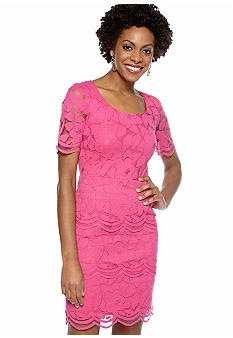 Maggy London Elbow-Sleeved Allover Lace Peplum Sheath Dress
