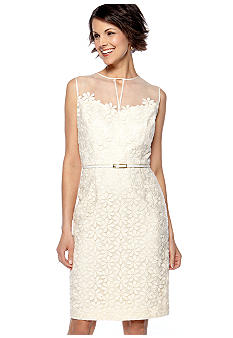 Maggy London Sleeveless Embroidered Belted Sheath Dress