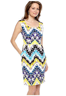 Maggy London Cap-Sleeved Printed Sheath Dress