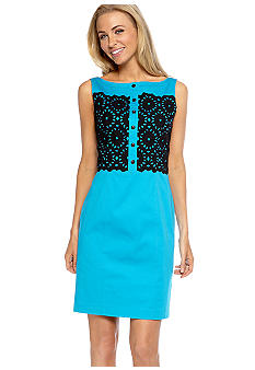 Maggy London Sleeveless Sheath Dress with Embroidery