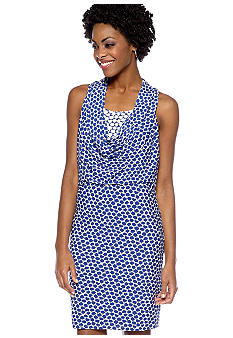 Maggy London Sleeveless Printed Cowl Neck Dress