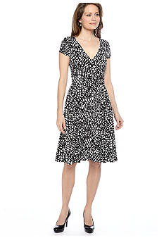 Maggy London Cap-Sleeved Printed Matte Jersey Dress