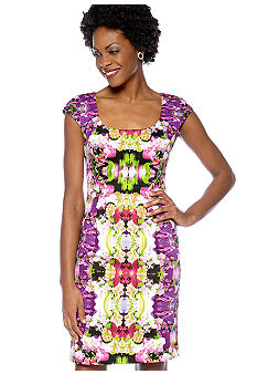 Maggy London Cap-Sleeved Mirror Printed Sheath Dress