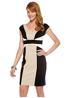 Maggy London Cap-Sleeved Color Block Scuba Sheath Dress