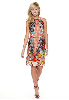 Maggy London Halter Printed Blouson Dress