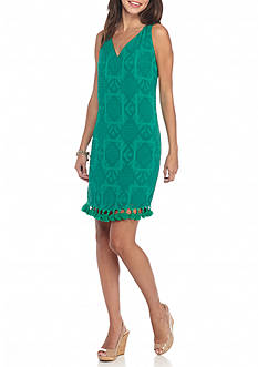 Maggy London Novelty Burnout Shift Dress with Tassels