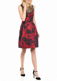 Maggy London Floral Printed Fit and Flare Dress