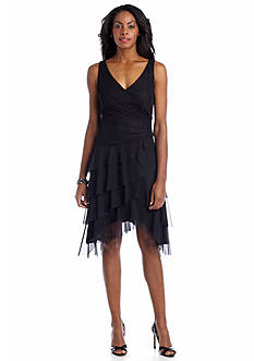 London Times Sleeveless Fit and Flare Shutter Dress
