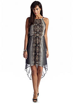 London Times Printed Halter High-Low Dress