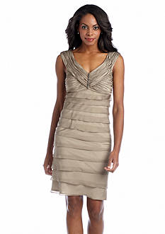 London Times Sleeveless Shutter Sheath dress with Brooch