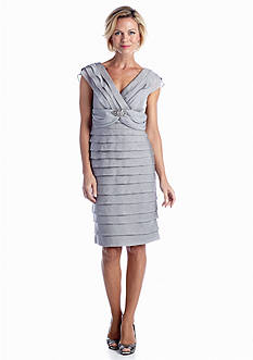 London Times Tiered Shutter Sheath Dress with Brooch