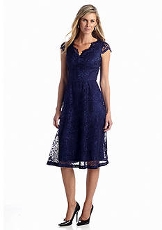 London Times Allover Lace Fit and Flare Dress