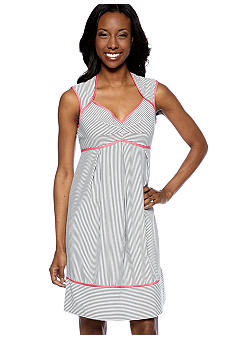 London Times Cap-Sleeved Seersucker Stripe Dress