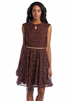 London Times Belted Fit and Flare Lace Dress