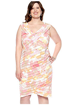 London Times Plus Size Cap-Sleeved Shutter Sheath Dress