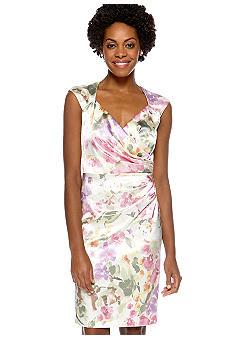London Times Sleeveless Floral Sheath Dress