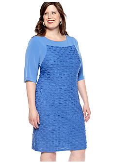 London Times Plus Size Elbow Sleeved Sheath Dress