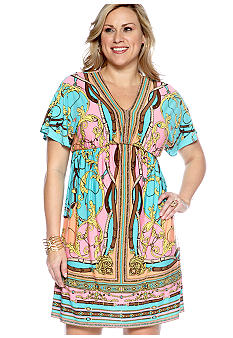 London Times Plus Size Dolman Sleeve Blouson Dress