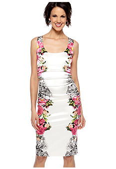 London Times Sleeveless Side Border Sheath Dress