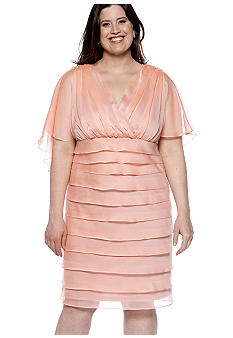 London Times Plus Size Shutter Pleat Dress
