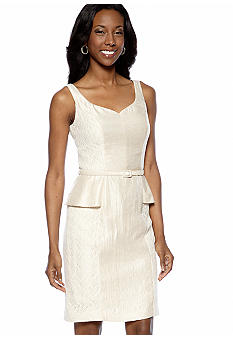 London Times Sleeveless Peplum Belted Sheath Dress with Lace