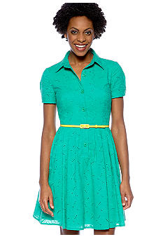 London Times Short-Sleeved Eyelet Belted Dress