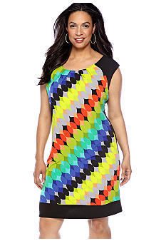 London Times Plus Size Cap-Sleeved Printed Shift Dress