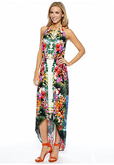 London Times Sleeveless Printed Hi-Lo Maxi Dress