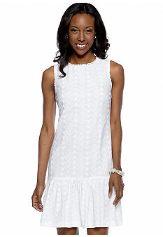 London Times Sleeveless Eyelet Shift Dress