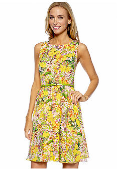 London Times Sleeveless Printed Fit and Flare Belted Dress