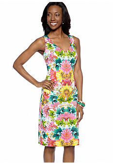 London Times Sleeveless Printed Sheath Dress
